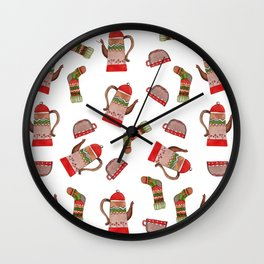 Winter tea pattern Wall Clock