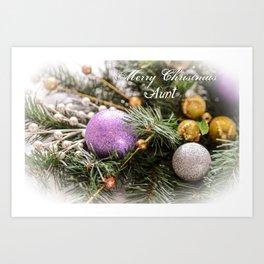 Merry Christmas Aunt Greeting Card Art Print