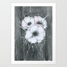 Anemone Flowers illustration gray neutral colors decor Art Print