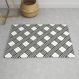 Diagonal Black and White Stripes Grid Lattice Pattern, Minimal Graphic Design Rug