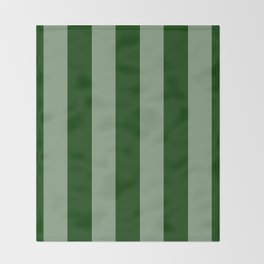 Forest Green Vertical Stripes Throw Blanket