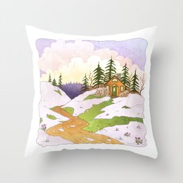 Flowers & Snow Throw Pillow