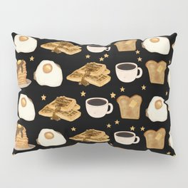 Breakfast Time Pattern on Black Pillow Sham