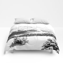 Fresh Snow Dust // Black and White Powder Day on the Mountain Comforters