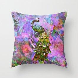 Peacock Watercolor Throw Pillow
