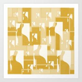 Bunnies of Gold Art Print