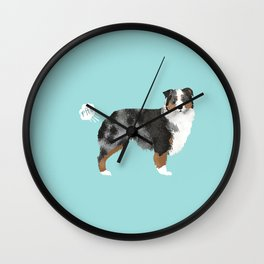 Australian Shepherd blue merle funny dog fart Wall Clock