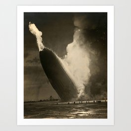The Hindenburg hits the ground in flames in Lakehurst, N.J. Art Print