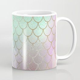 Mermaid Scales Pastel Shimmering Iridescent Gold and Rainbow Hues Coffee Mug
