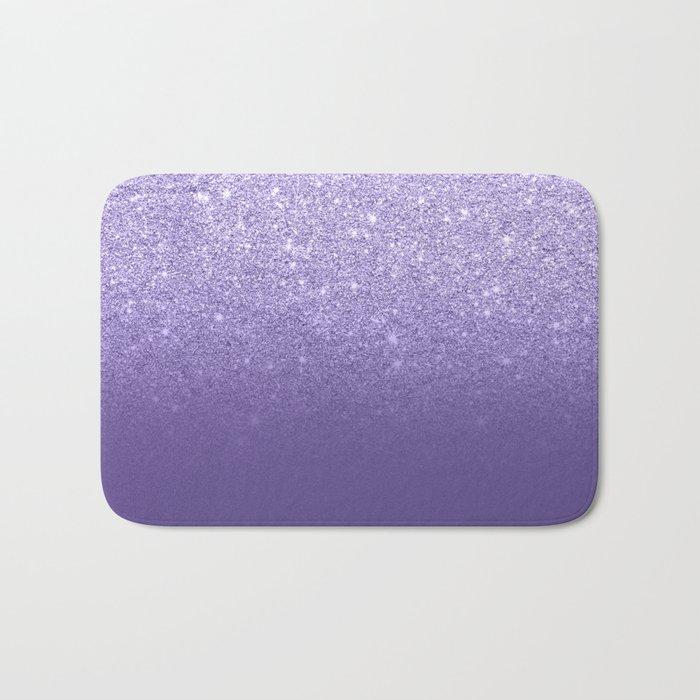 Modern ultra violet faux glitter ombre purple color block Bath Mat