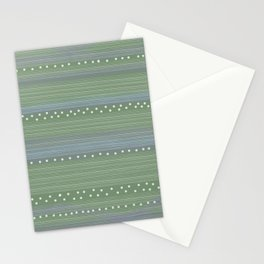 Green with Stripes and Dots Stationery Cards