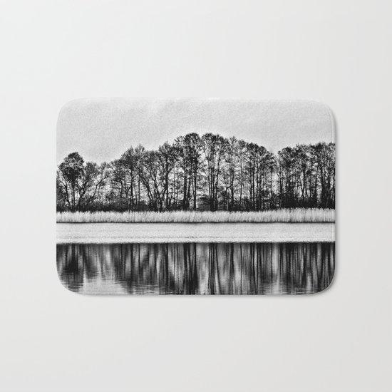 White Symphony of Winter Lake Bath Mat