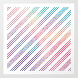 Abstract pink teal purple gradient stripes pattern Art Print