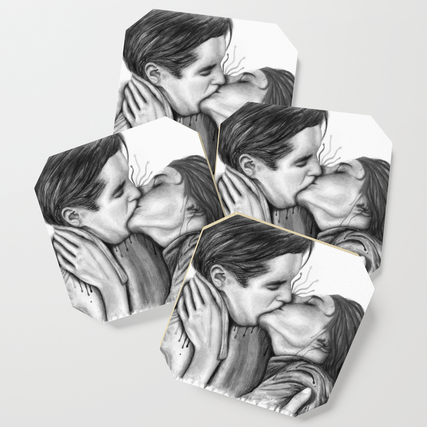 Cinema kiss blackwhite love art illustration romance lovers relationship couple drawing kiss coaster