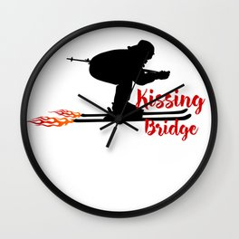 Ski speeding at Kissing Bridge Wall Clock