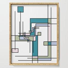 Untitled Line Composition- Mondrian Inspired Digital Illustration Art Print Serving Tray