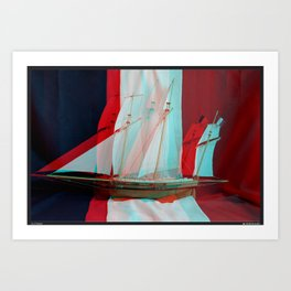 Le Coureur, French flag. Anaglyph. Art Print