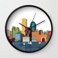 boston Wall Clocks featuring Boston  by Felita Go