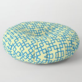 Square Overlay - yellow and blue Floor Pillow