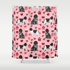 Newfoundland valentines day pink hearts love dog breeds unique gifts for pet owners Shower Curtain