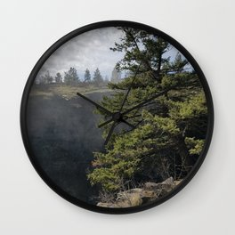 Beside The Falls, Beautiful Old Pine Tree Stands Sentry Beside A Watefall Wall Clock