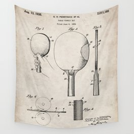 Table Tennis Patent - Tennis Paddle Art - Antique Wall Tapestry