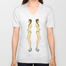 Brunette Twin Models Unisex V-Neck