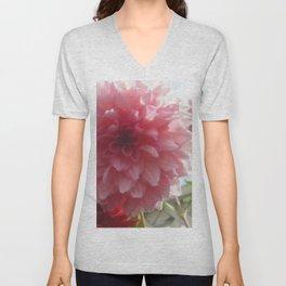 Pretty Pink Dahlia Ruffles Unisex V-Neck