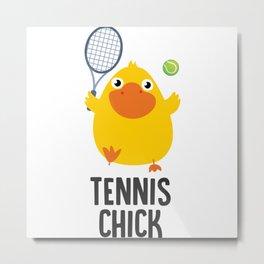 Tennis Chick Illustration Metal Print