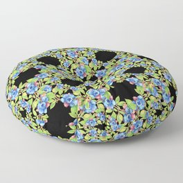 Wild Blueberries Lattice Design Floor Pillow