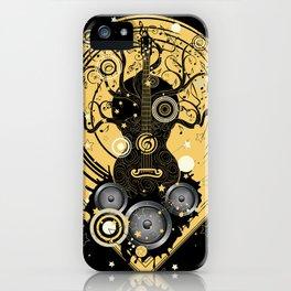 Retro geometric music themed design with guitar tree iPhone Case