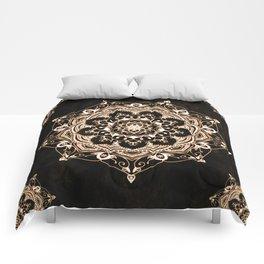 Glowing Spirit Black White Mandala Design Comforters