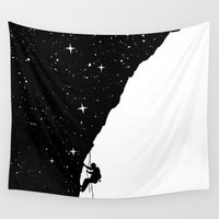 climbing Wall Tapestries featuring night climbing by Balazs Solti