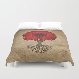 Vintage Tree of Life with Flag of Albania Duvet Cover