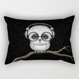 Cute Baby Owl Dj with Headphones and Glasses Rectangular Pillow