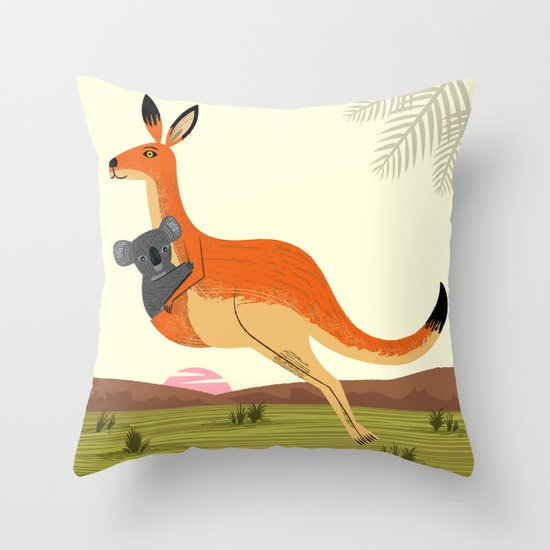 The Kangaroo and The Koala Throw Pillow