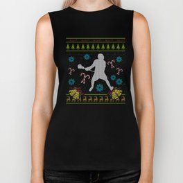 Lacrosse Christmas Ugly Sweater Design Shirt Biker Tank