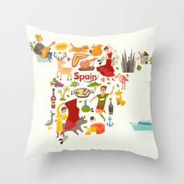 Spain map vector, contour. Illustrated map of Spain for children Throw Pillow