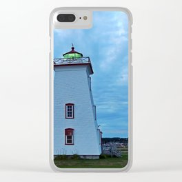Wood Islands Lighthouse and green light Clear iPhone Case