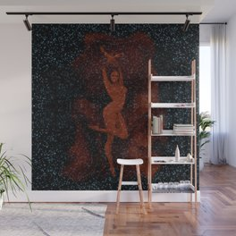 Introverted Fireworks Real Woman Red Wall Mural