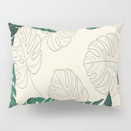 green monstera leaf illustrations Pillow Sham