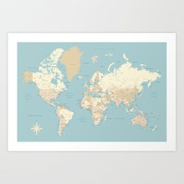 """Cream, brown and muted teal world map, """"Jett"""" Art Print"""