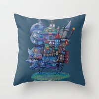 fandom Throw Pillows featuring Fandom Moving Castle by nokeek