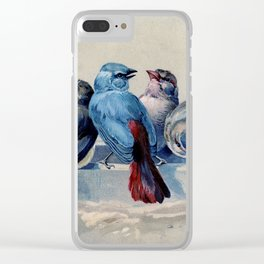 Vintage Blue & Red Winter Songbirds Clear iPhone Case