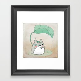 Floral Totoro Framed Art Print