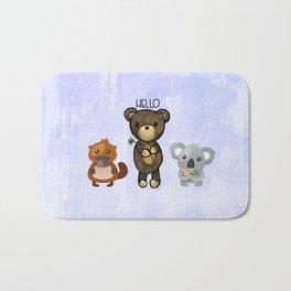 Bear Platypus and Koala Illustration on Purple Bath Mat