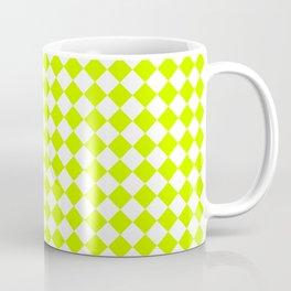 Small Diamonds - White and Fluorescent Yellow Coffee Mug