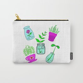 Cute lovely little house plants in glass jars, potted flowers cartoons. plant, ecology, nature lover Carry-All Pouch