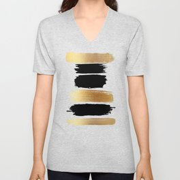 Brush Strokes (Black/Gold) Unisex V-Neck