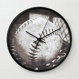 Softball on the Bench in Sepia Wall Clock